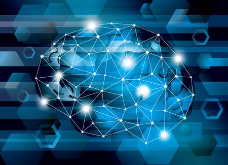 Illustration of a cyber IT brain