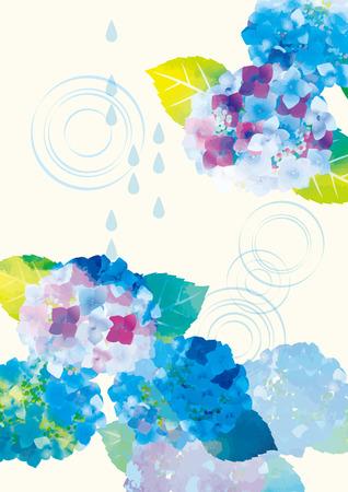 Affiche d'illustration d'hortensia de saison des pluies