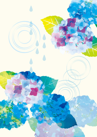 Illustration poster of rainy season hydrangea