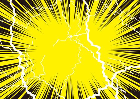 Illustrazione che lo shock è fantastico con radiazioni e fulmini Vettoriali