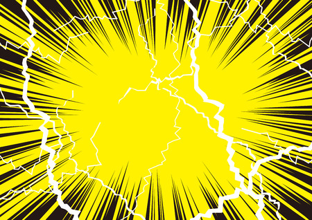 Ilustración de que el impacto es genial con radiación y rayos. Ilustración de vector