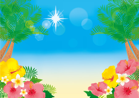 Illustration of a beach resort with hibiscus blooming in the sky