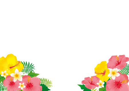 Illustration of a beach resort with hibiscus blooming