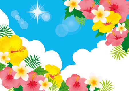 Ilustración de un resort de playa con hibiscos floreciendo en el cielo