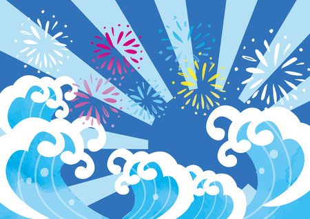 Illustration of cheerful image of wave