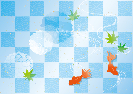 Illustration of cool water and goldfish and aquatic plants 矢量图像