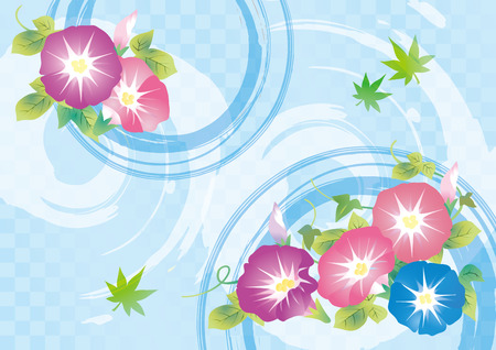 Cool light blue Japanese style pattern and morning glory flowers