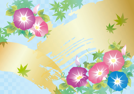 Cool light blue Japanese style pattern and morning glory flowers  イラスト・ベクター素材