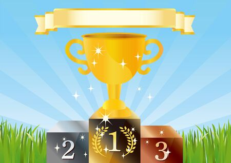 Illustration that victory cup shines in the blue sky and grass  イラスト・ベクター素材