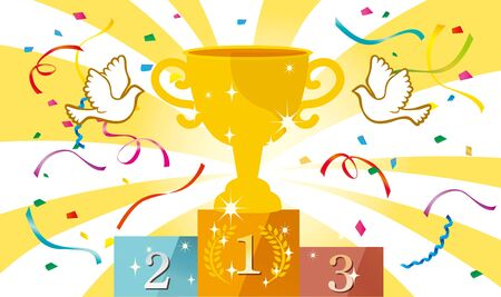 Confetti and stars dance, cheering bright illustrations happy cup win  イラスト・ベクター素材