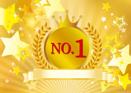 Illustration of number one plate shining on red curtain