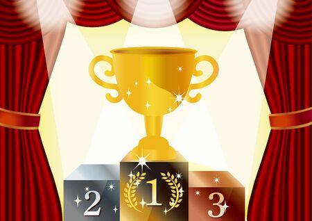 Confetti and stars dance, cheering bright illustrations happy cup win 写真素材 - 125899756