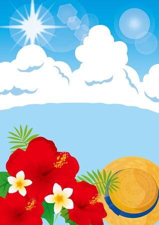 Illustration of a beer at a beautiful beach resort and blue sky Illustration