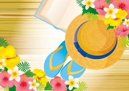 Illustration of summer blue sea and cheerful sunflower