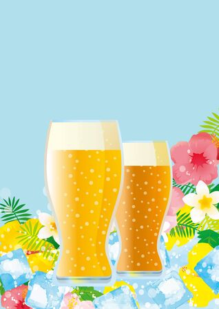 Illustration of a beer at a beautiful beach resort and blue sky 矢量图像