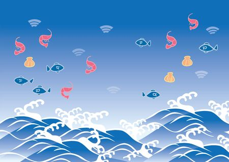 Shrimp, fish, shellfish and wave illustration 向量圖像