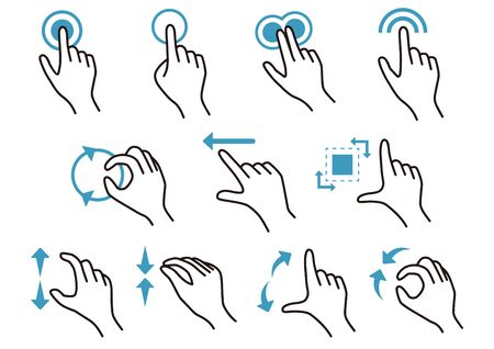 Icon set of various hands tapping the smartphone