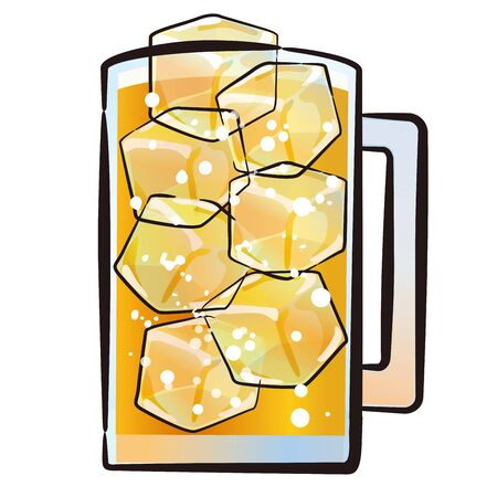 An illustration of whiskey and carbonated liquor in a glass