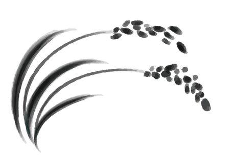 Ilustración de arroz y marcas de arroz.
