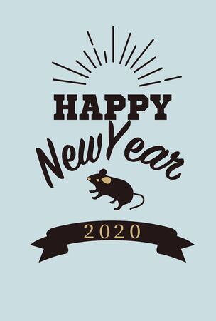 New Year's Card Illustration for 2020 Vettoriali