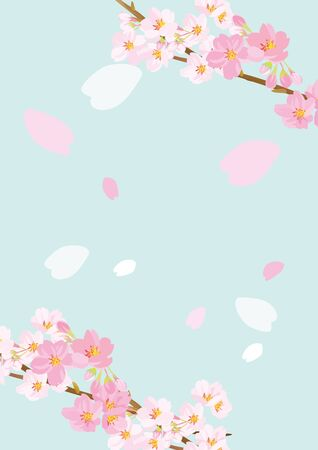 It is an illustration of cherry blossoms gently dancing 向量圖像