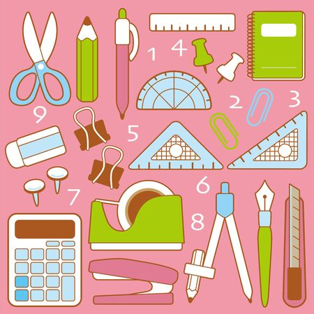 It is an illustration where a lot of stationery is lined up Vettoriali