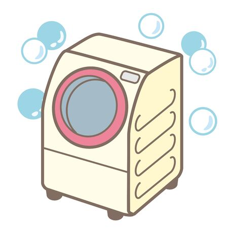 It is an illustration of a washing machine that cleans laundry