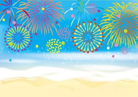 Illustration of fireworks launching on the beach