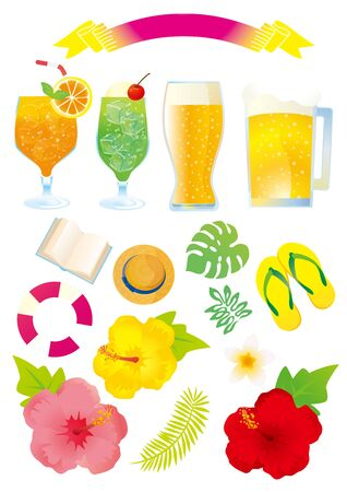 Hibiscus and other southern island resort illustrations 向量圖像