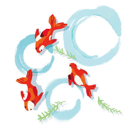 Visiting the summer with a goldfish illustration
