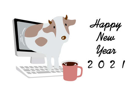 2021 New Year's card Remote greeting Vektorové ilustrace