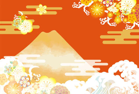 It is a Japanese style illustration of beautiful Mt. Fuji in Japan.