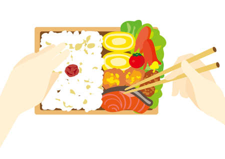 Illustration of Japanese lunch and lunch 일러스트