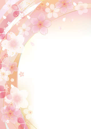 Beautiful japanese cherry blossom illustration background