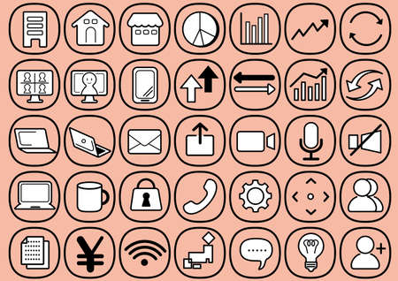 Business network illustrations and icons