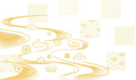 Beautiful Japanese pattern background illustration.