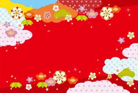 Cute and pop Japanese pattern background Ilustração