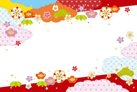 Flower Japanese pattern background Ilustração