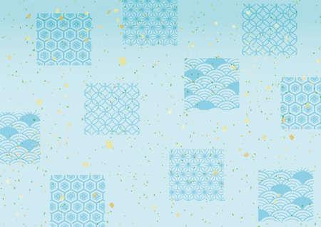Japanese style pattern light blue background illustration material