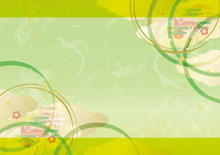 Japanese style pattern green background illustration material