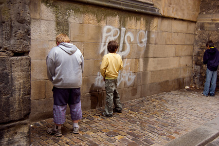 urinating: Street vandalism in the city Stock Photo
