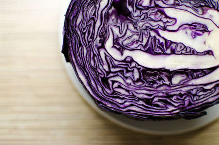 bisected: Close up of bisected red cabbage