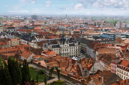 steiermark: Famous view over the rooftops of Graz City Hall