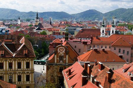 Famous view over the rooftops of Graz Stock Photo