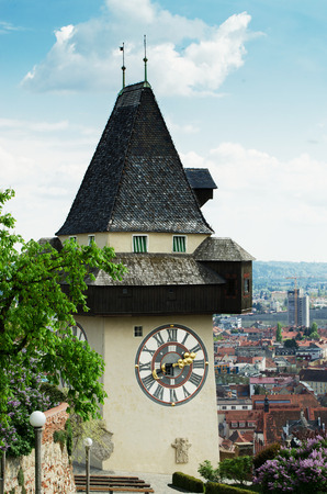 steiermark: Castle mountain with famous clock tower Uhrturm in Graz