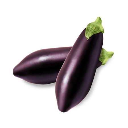 Two fresh eggplant isolated on a white background photo