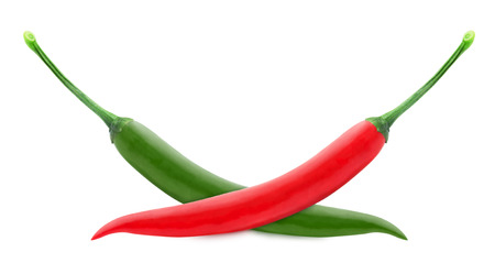 Fresh chilli peppers isolated on a white background photo