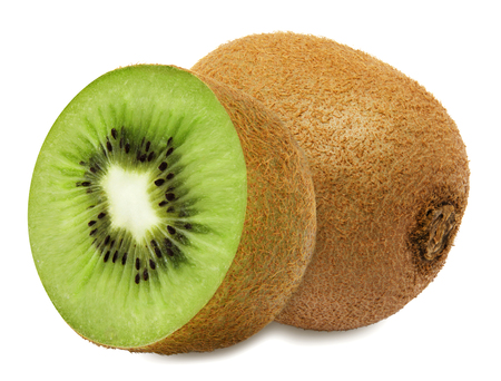 sectioned: Juicy kiwi with section isolated on white background Stock Photo