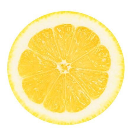 절연 흰색 배경에 레몬의 육즙 노란색 부분