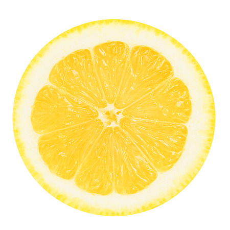 Juicy yellow section of lemon on a white background isolated Imagens